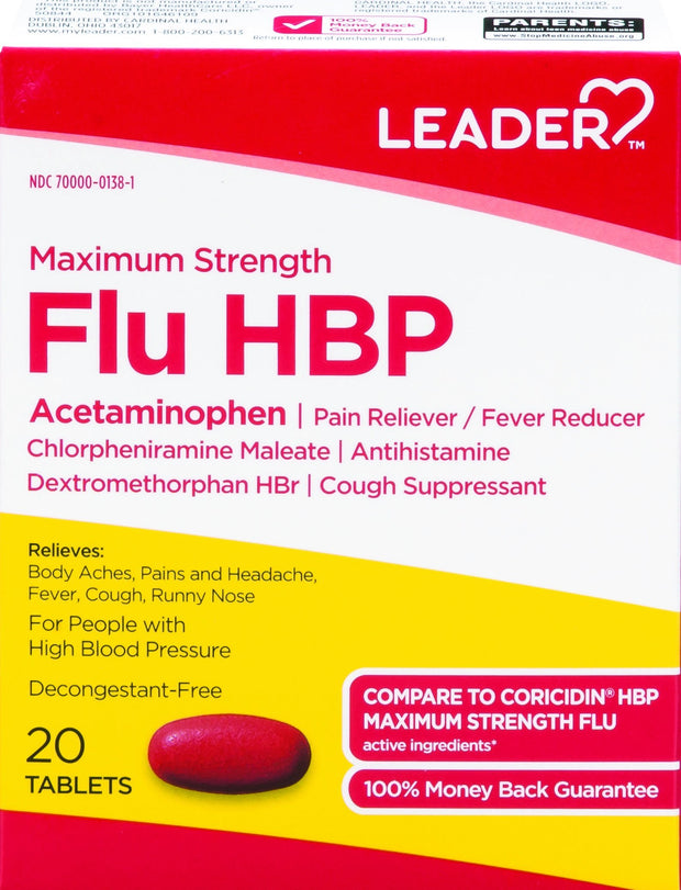 LEADER Flu HBP Max Strength Tablets 20 ct