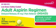 LEADER Aspirin Adult Low Strength 81mg Enteric Coated Tablets 32 ct