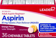 LEADER Aspirin Adult Regimen 81mg Orange Chewable Tablets 36 ct