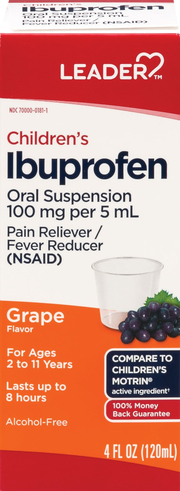 LEADER Children's Ibuprofen Pain Reliever/Fever Reducer Grape Liquid 4 oz
