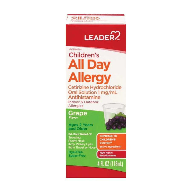 LEADER Children's All Day Allergy Relief Grape Liquid 4 oz