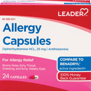 LEADER Allergy Relief 25mg Capsules
