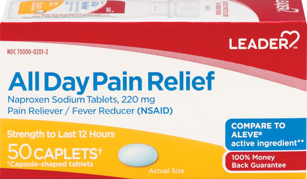 LEADER All Day Pain Relief Naproxen Sodium 220mg Caplets