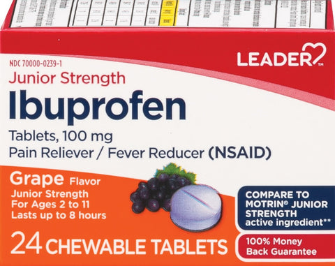 LEADER Ibuprofen Junior Strength 100mg Grape Chewables 24 ct