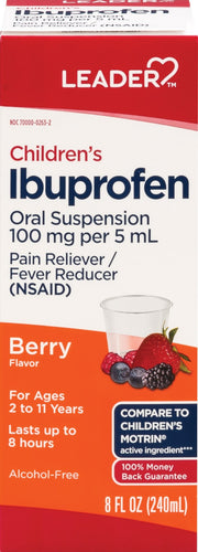 LEADER Children's Ibuprofen Pain Reliever/Fever Reducer Berry Liquid