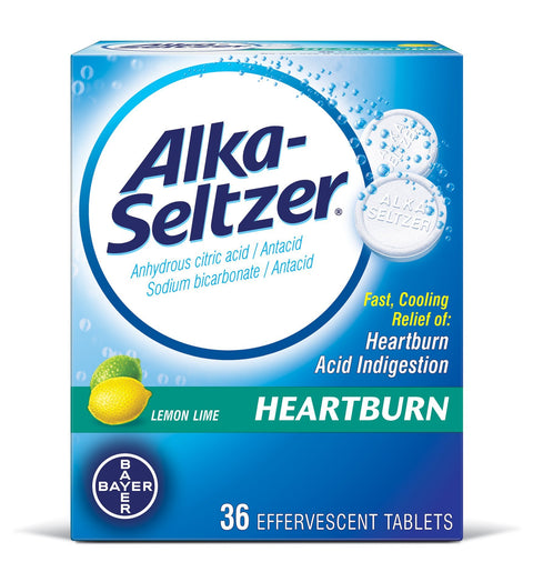 Alka-Seltzer Heartburn Relief Effervescent Lemon Lime Tablets 36 ct