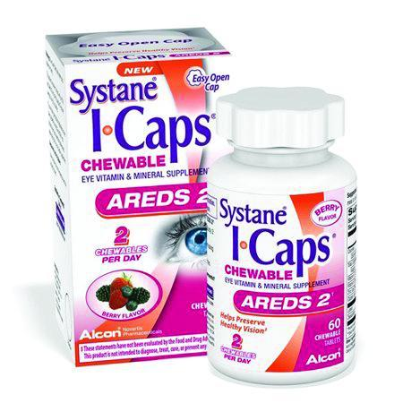 Systane I-Caps Eye Vitamin & Mineral Supplement Areds 2 Chewable Tablets 60 ct