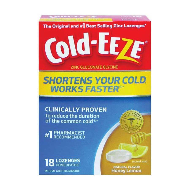 Cold-Eeze Cold Remedy Zinc Lozenge Natural Honey Lemon Flavor 18 ct
