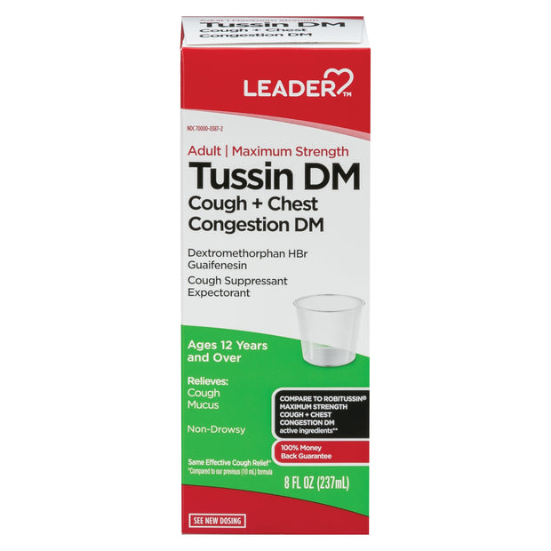LEADER Tussin DM Cough + Chest Congestion Max Strength Liquid