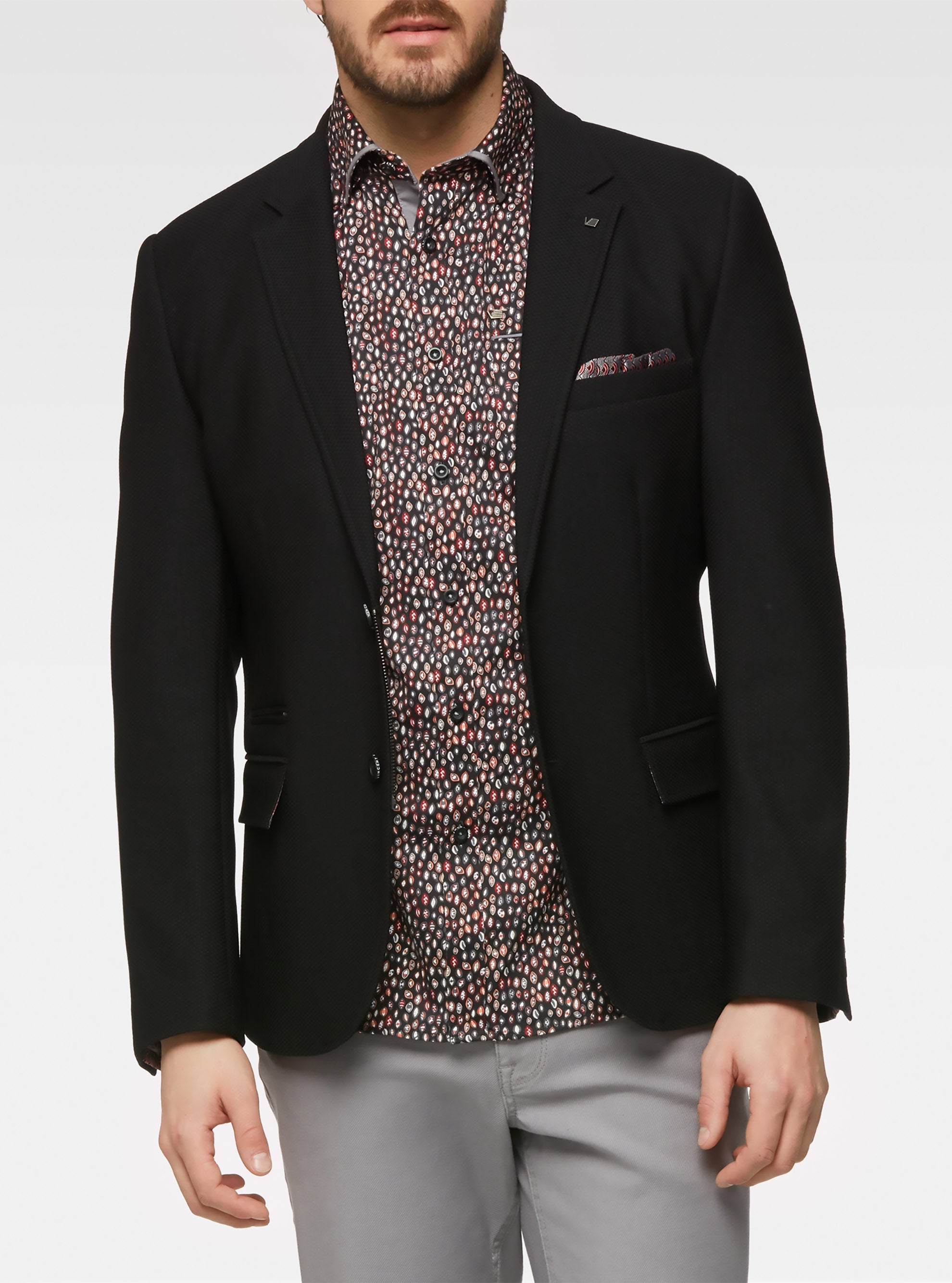Stretch honeycomb knit tailored sport jacket