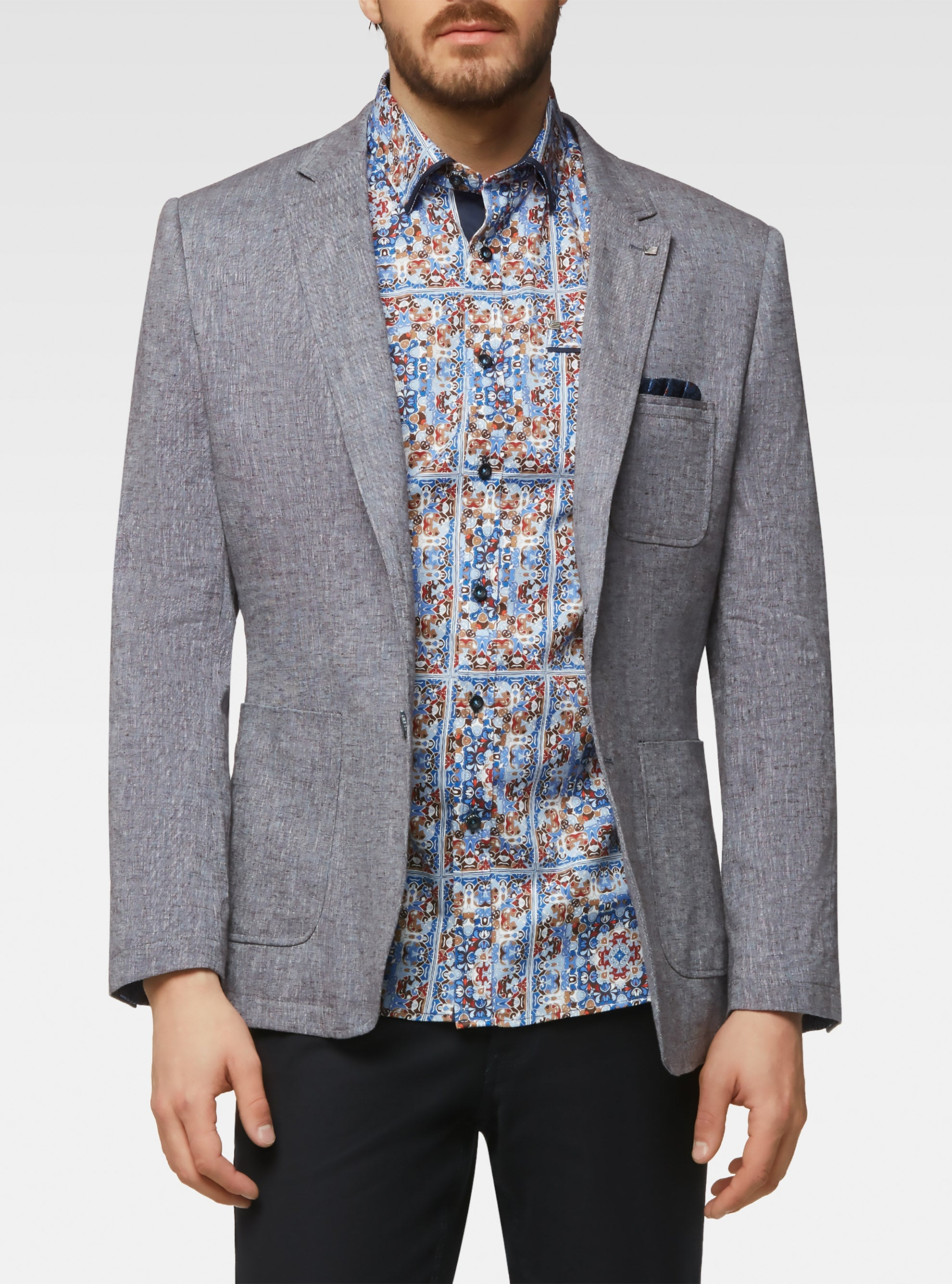 Two tone stretch linen tailored sport jacket