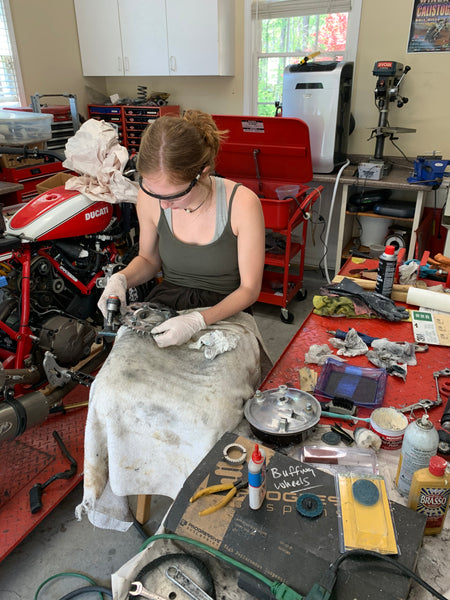 Lloyd Brother's Honda CB350 working on parts