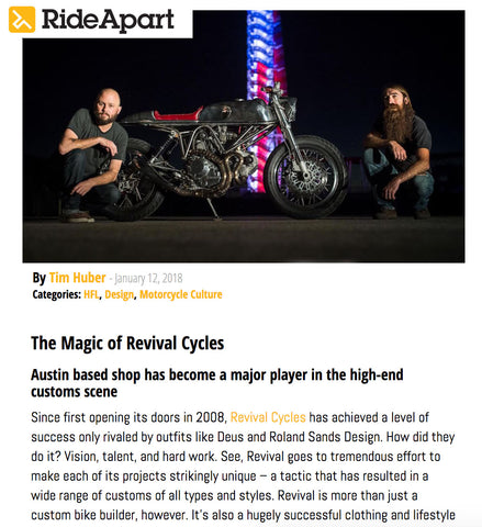 Ride Apart Article titled the Magic of Revival Cycles