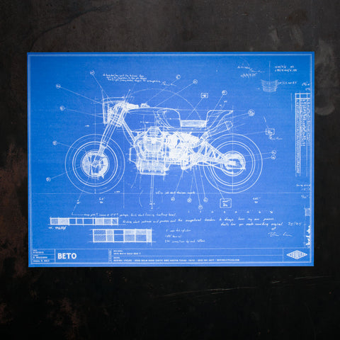 Beto Blueprint Poster - Revival Cycles - Moto Guzzi 850T