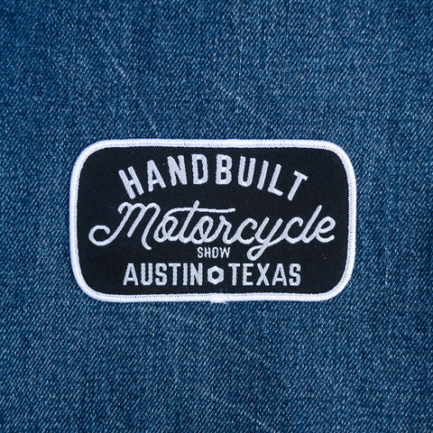 Handbuilt Motorcycle Show Script Patch - White