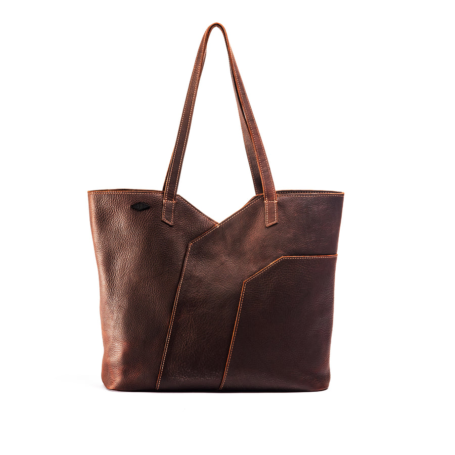 Front view of the mahogany Terlingua Tote