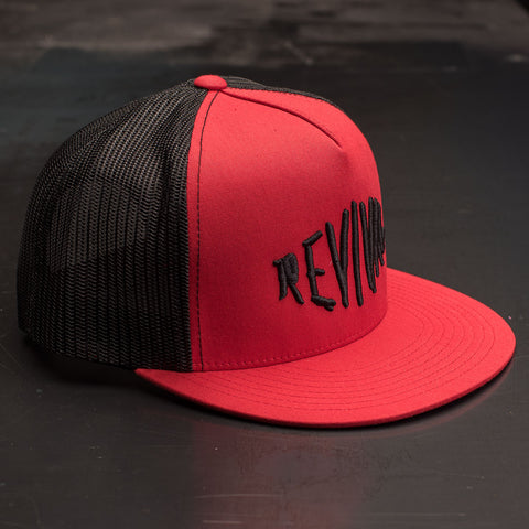 Revival Scratch Logo Trucker Hat - Black/Red