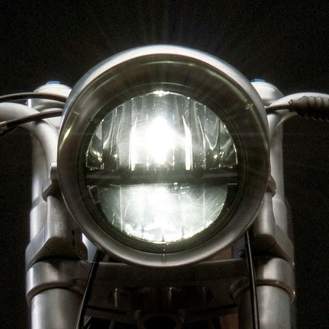 LED Motorycle Headlight on Revival Cycles' Beto Moto Guzzi