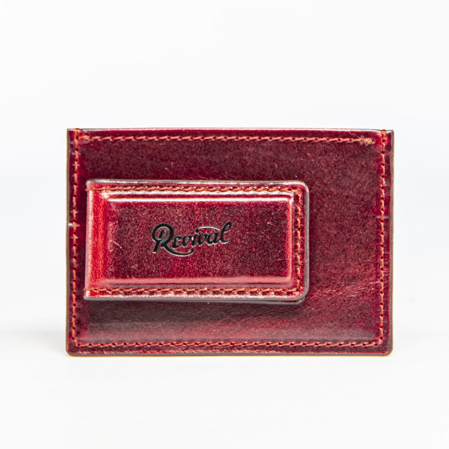 Front view of the Mag Wallet in new limited edition oxblood leather