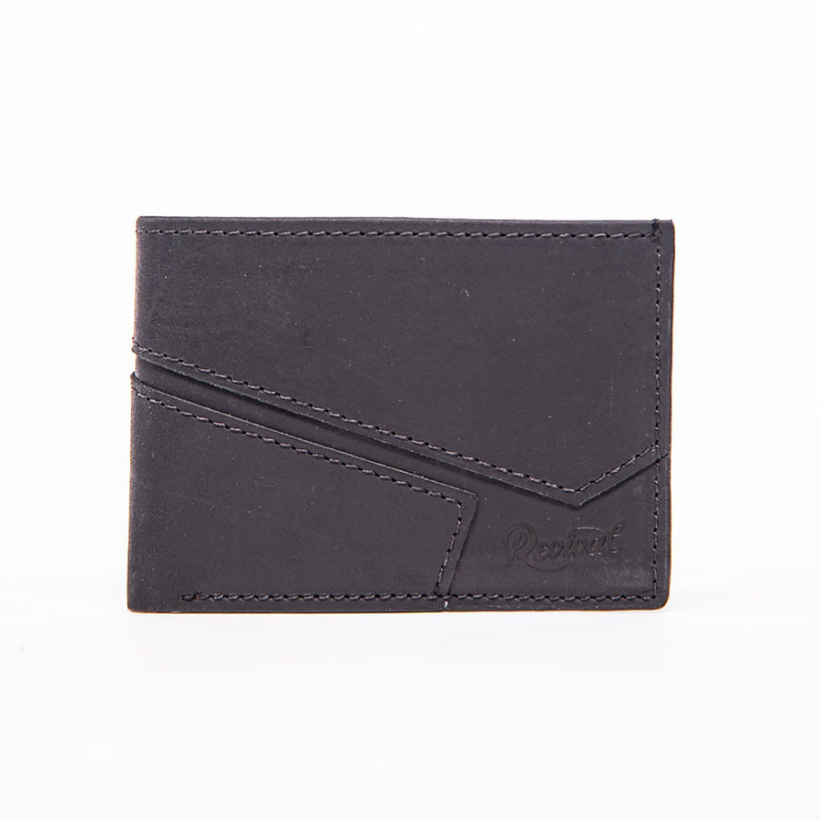 Front view of the black leather Presidio Bi-Fold Wallet highlighting the wallet's asymmetrical design lines and Revival stamped logo.