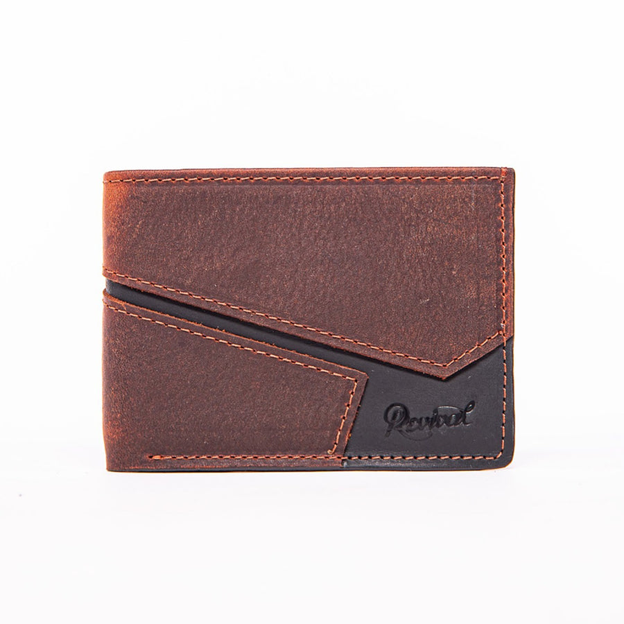 Front view of the mahogany and black leather Presidio Bi-Fold Wallet showcasing the asymmetrical design lines and Revival stamped logo.