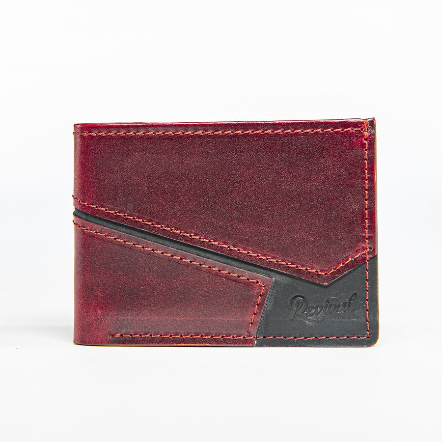 Front view of the Presidio Wallet in Oxblood leather