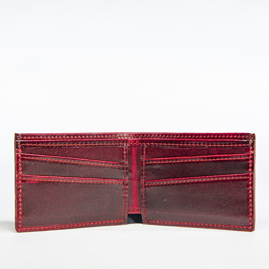 Inside view of the Presidio Wallet in oxblood leather