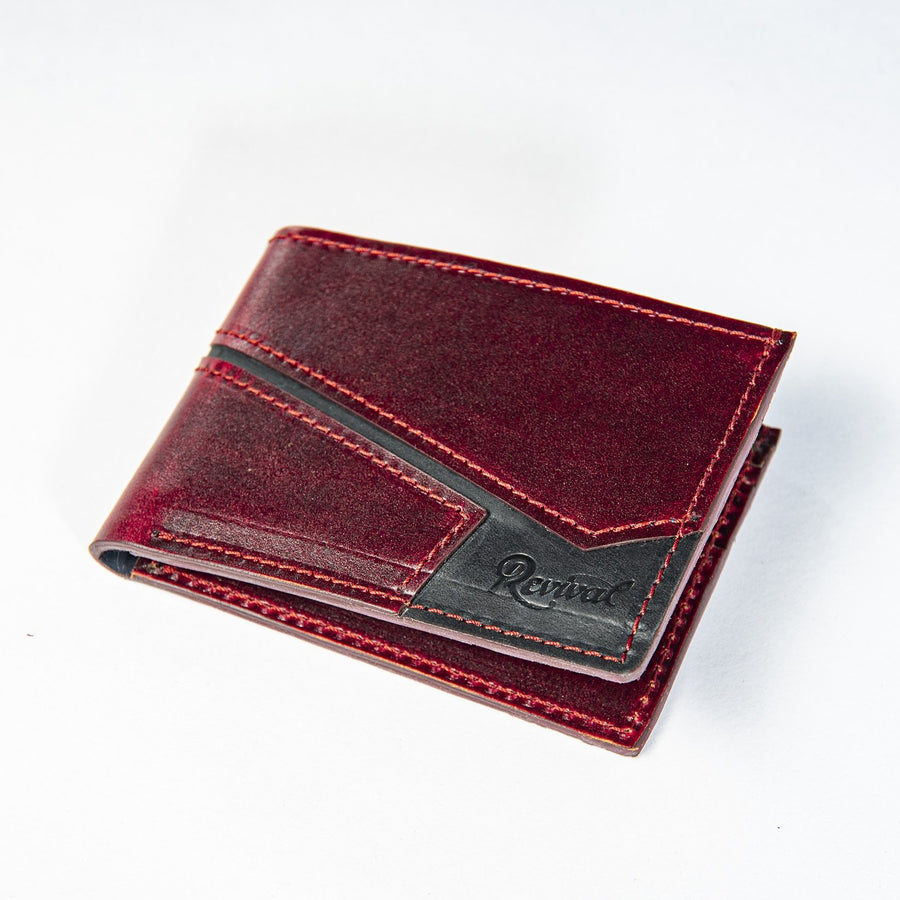 Angled view of the Presidio Wallet in Oxblood