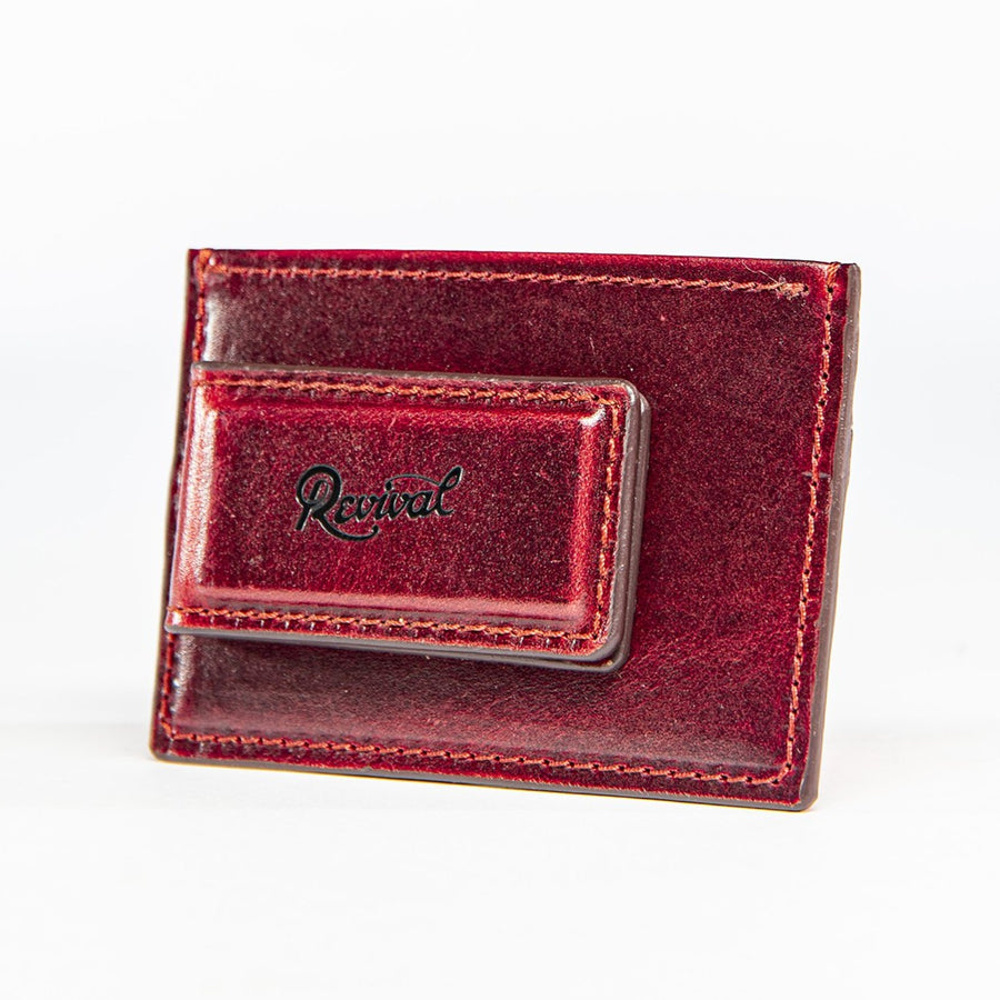 Angled view of the Mag Wallet in limited edition oxblood