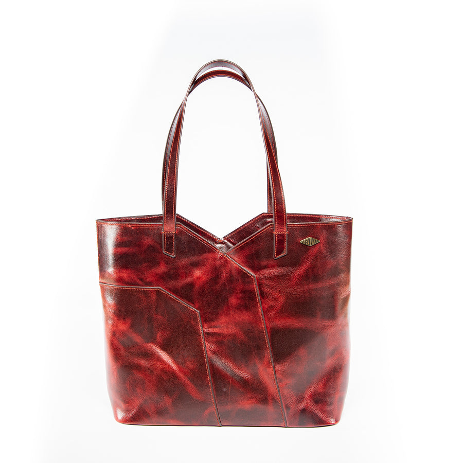 Front view of the oxblood Terlingua Tote