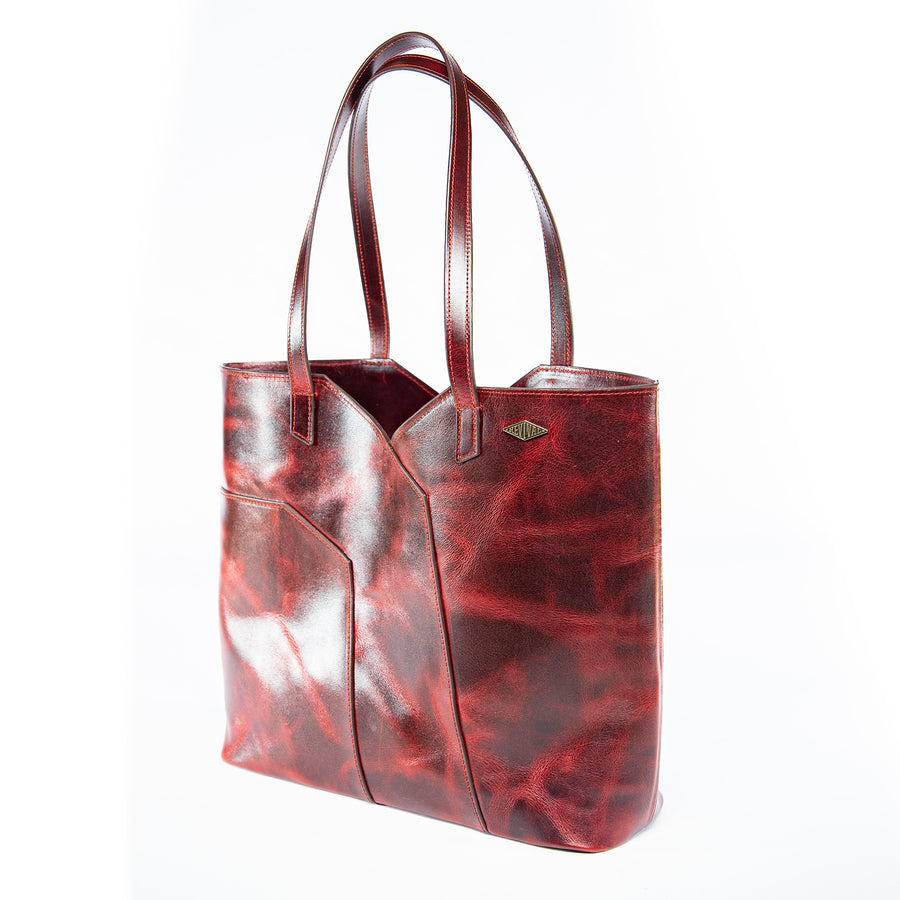 Angled view of the oxblood Terlingua Tote