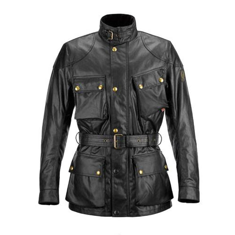 Revival Cycles - Belstaff Classic Tourist Trophy Motorcycle Jacket - 6oz Waxed Cotton - Black - Antique Black