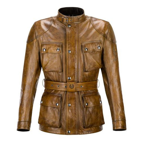 Revival Cycles - Belstaff Classic Tourist Trophy Motorcycle Jacket - Hand Waxed Leather - Brown - Burnt Cuero