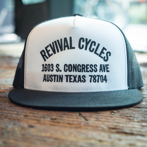 Revival Cycles Anchor Trucker Hat - Black and White