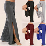 Wide Leg Casual Side Slit Flowy Yoga Pants