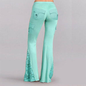 Boho Super Flare Lace Patchwork Pockets Bell Bottom Pants