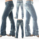 White Barbwire Embroidery Washed Stretch Hip Hugger Bootcut Jeans