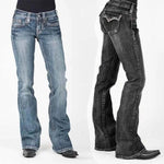 Stretch Mid-waist Washed Boot-cut Jeans