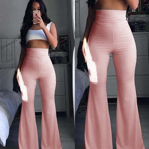 Women's Fashion Solid High Waist Palazzo Bell Bottom Trousers