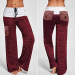 Drawstring Pockets Stretch Wide Leg Yoga Pants
