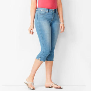 70s Mid Rise Stretchy Denim Pedal Pushers