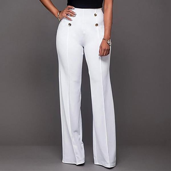 Button Decorated High Waist Flared Pants
