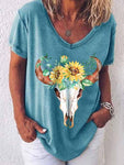 Bull Head Sunflower Print T-Shirt