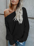 Casual Off-the-shoulder Sleece Knit Sweater