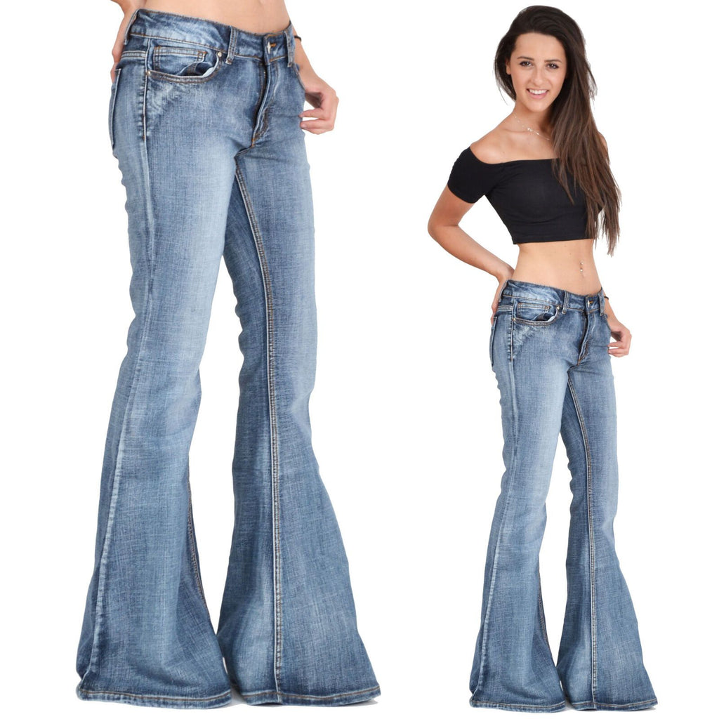 Retro Faded Denim Hip Hugger Bell Bottoms Jeans