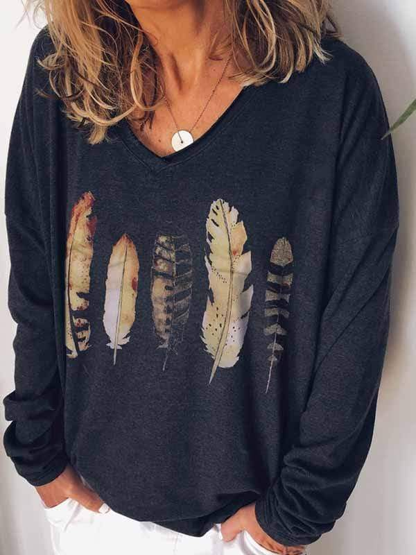 wiccous.com Plus Size Tops Black / S Feather Printed Long Sleeve T-Shirt
