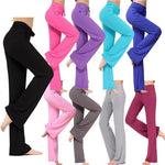 Modal High Waist Stretchy Straight Sleek-fit Slacks Yoga Pants