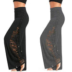 High Waist Side Slit Lace Up Wide Leg Lace Panel Long Palazzo Pants