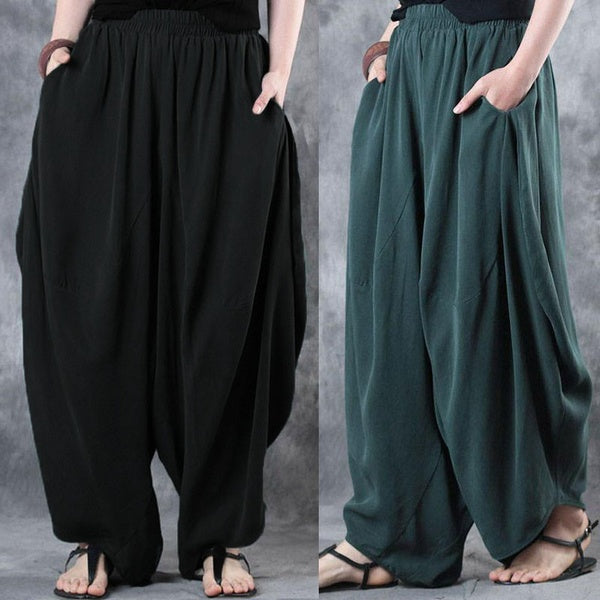 Casual Loose Elastic Waist Side Pockets Harem Pants