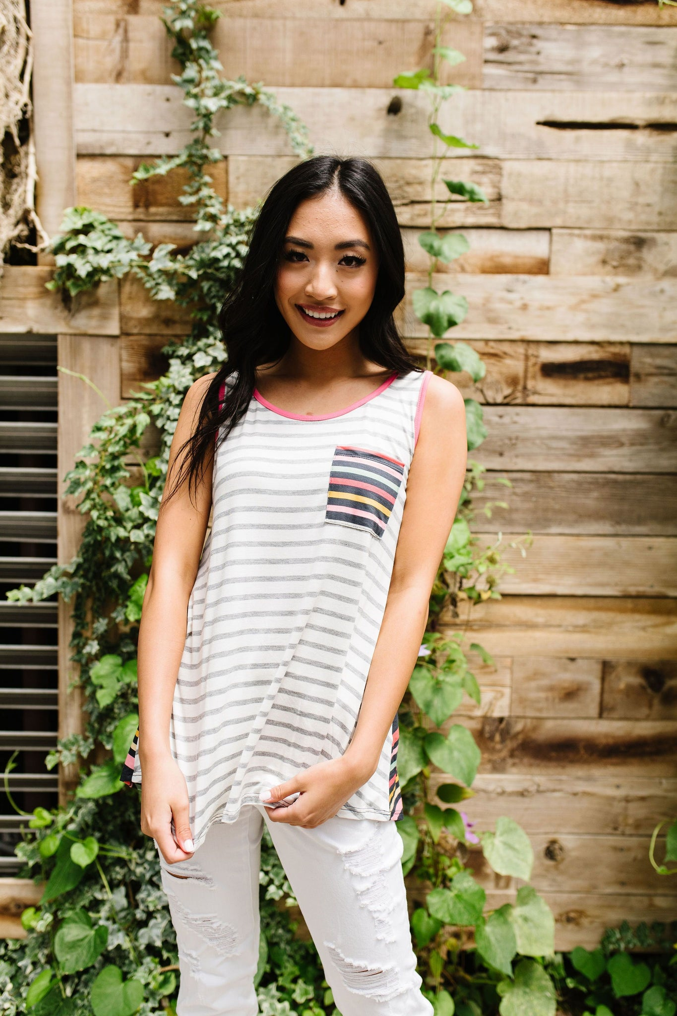 Stripes & More Stripes Tank Top In Heather Gray